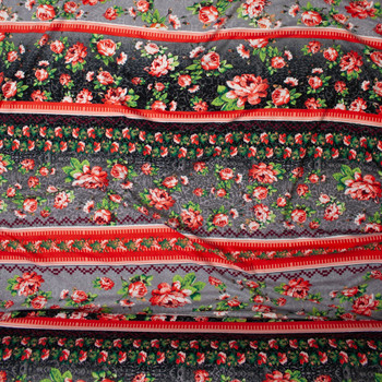 Grey and Coral Floral Boho Stripe Double Brushed Poly Spandex Print Fabric By The Yard - Wide shot