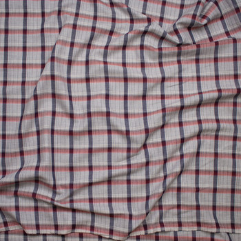 Red, White, and Blue on Light Grey Plaid Soft Cotton Gabardine Fabric By The Yard - Wide shot