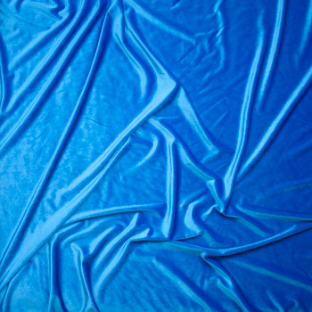 Turquoise 4-way Stretch Velvet Fabric By The Yard - Wide shot