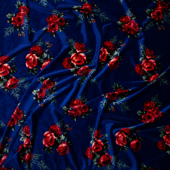 Red and Sage Floral on Navy Blue 4-way Stretch Velvet Fabric By The Yard - Wide shot