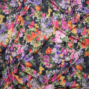 Watercolor Floral on Charcoal Nylon/Lycra Fabric By The Yard - Wide shot