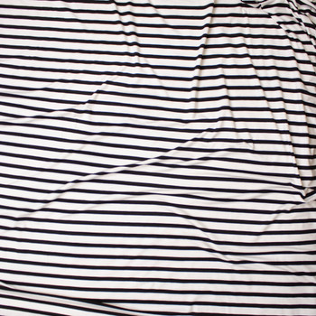 Black on Offwhite Horizontal Pencil Stripe Stretch Modal Jersey Fabric By The Yard - Wide shot