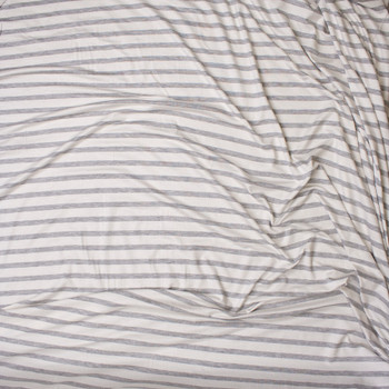 Light Grey Heather on Offwhite Horizontal Pencil Stripe Stretch Modal Jersey Fabric By The Yard - Wide shot