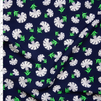 White and Neon Green Flowers on Navy Blue Poly Crepe De Chine Fabric By The Yard