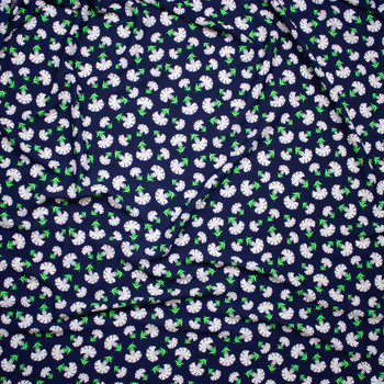 White and Neon Green Flowers on Navy Blue Poly Crepe De Chine Fabric By The Yard - Wide shot