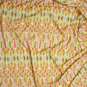 Yellow, Orange, Lime, and Tan Tribal Pattern Poly Crepe De Chine Fabric By The Yard - Wide shot