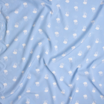 White Thunderclouds on Baby Blue Poly Peachskin Fabric By The Yard - Wide shot