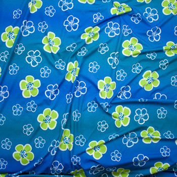 Lime and White Tropical Flowers on Ombre Blue Nylon/Lycra Print Fabric By The Yard - Wide shot