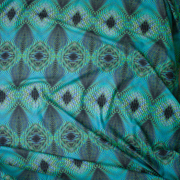 Lime and Turquoise Kaleidoscope Nylon/Lycra  Fabric By The Yard - Wide shot