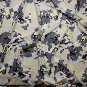 Blush, Butter Yellow, and Grey Blotch Print Nylon/Lycra Fabric By The Yard - Wide shot