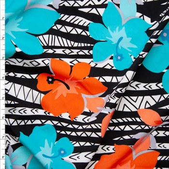 Orange and Aqua Hibiscus on Black and White Tribal Nylon/Lycra Fabric By The Yard