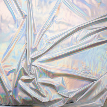 Premium Silver Iridescent Lycra Lame Fabric By The Yard - Wide shot