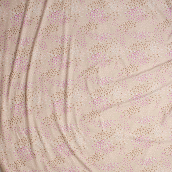 Ivory, Lavender, Pink,and Brown Abstract Pattern Nylon/Lycra Fabric By The Yard - Wide shot