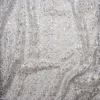 Silver Metallic Geometric Lace with Holographic Silver Sequin Fabric Fabric By The Yard - Wide shot