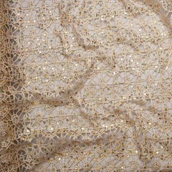 Gold Metallic Geometric Lace with Holographic Gold Sequin Fabric Fabric By The Yard - Wide shot