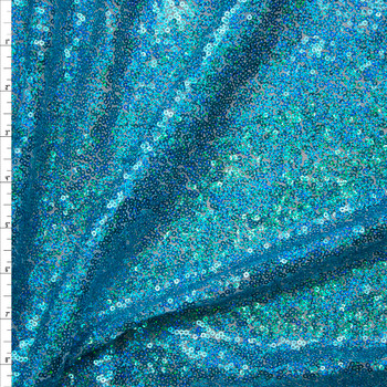 Holographic Turquoise Micro Sequin Fabric Fabric By The Yard