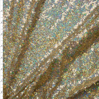 Holographic Light Gold Micro Sequin Fabric Fabric By The Yard