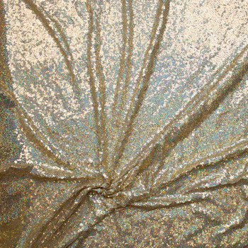 Holographic Light Gold Micro Sequin Fabric Fabric By The Yard - Wide shot