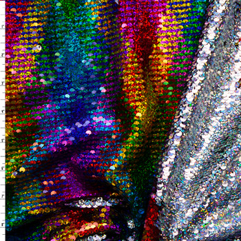 Rainbow Argyle and Holographic Silver Reversible Sequin Fabric Fabric By The Yard