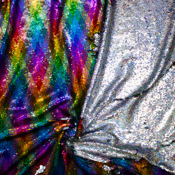 Rainbow Argyle and Holographic Silver Reversible Sequin Fabric Fabric By The Yard - Wide shot
