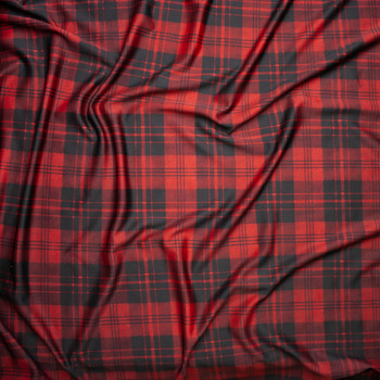 Red and Black Plaid Scuba Knit Fabric By The Yard - Wide shot