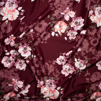 Pink and Tan Floral on Burgundy Scuba Knit Fabric By The Yard - Wide shot