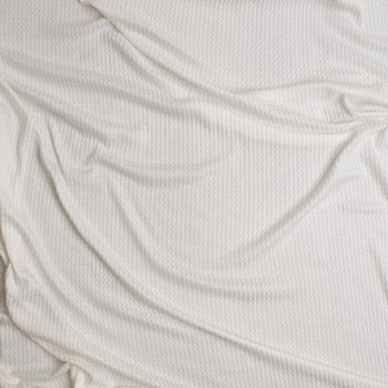 Warm White Soft Waffle Knit Fabric By The Yard - Wide shot