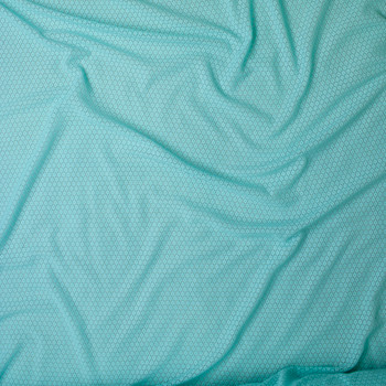 Aqua Floral Pattern Stretch Lace Fabric By The Yard - Wide shot