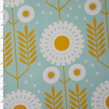 White and Gold Floral print on Dusty Aqua Cotton Twill Fabric By The Yard