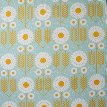 White and Gold Floral print on Dusty Aqua Cotton Twill Fabric By The Yard - Wide shot