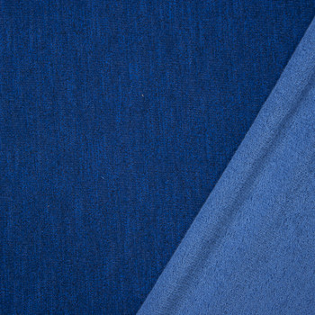 Royal Blue Heather Stretch French Terry Fabric By The Yard - Wide shot