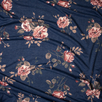 Mauve and Tan Floral on Slate Blue Heather Lightweight French Terry Fabric By The Yard - Wide shot