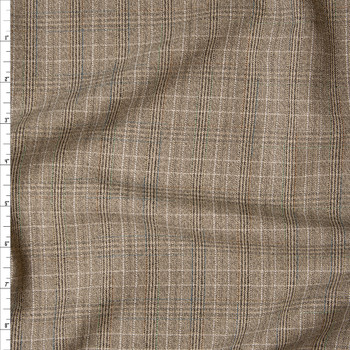 Tan Plaid Midweight Brushed Suiting Fabric By The Yard