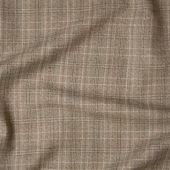 Tan Plaid Midweight Brushed Suiting Fabric By The Yard - Wide shot