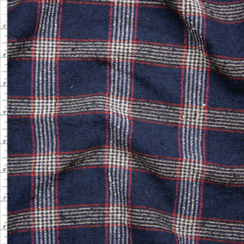 Navy, White, Tan, and Red Plaid Wool Blend Boucle Fabric By The Yard
