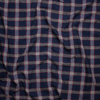 Navy, White, Tan, and Red Plaid Wool Blend Boucle Fabric By The Yard - Wide shot