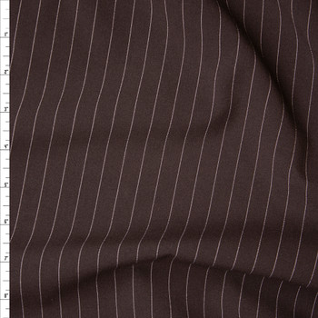 White on Brown Vertical Pinstripe Midweight Suiting Fabric By The Yard