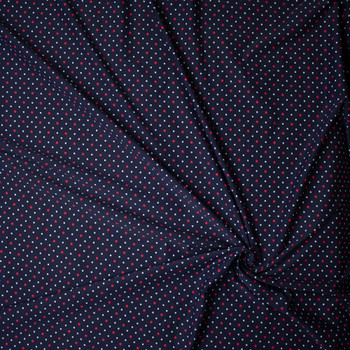 Red and White Dots on Navy Nylon/Spandex Print Fabric By The Yard - Wide shot