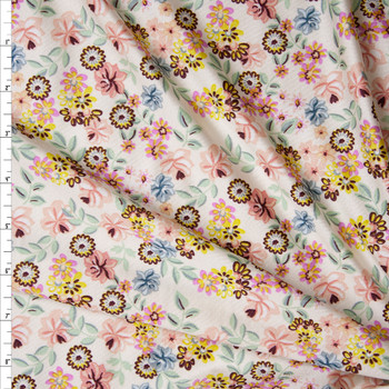 Mint, Pink, Yellow, Light Blue, and Brown Small Floral on Ivory Nylon/Spandex Print Fabric By The Yard