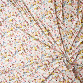 Mint, Pink, Yellow, Light Blue, and Brown Small Floral on Ivory Nylon/Spandex Print Fabric By The Yard - Wide shot