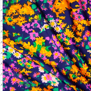 Pink Green, Orange, and Yellow Flowers on Navy Blue Nylon/Spandex Print Fabric By The Yard