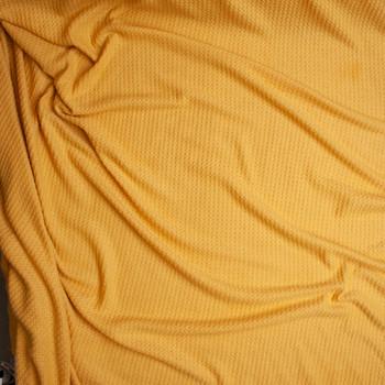 Mustard Brushed Soft Rayon Waffle Sweater Knit Fabric By The Yard - Wide shot