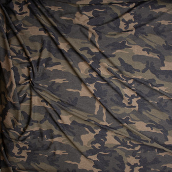 Olive, Tan, Black, and Brown Camouflage Loop Printed Lightweight French Terry Fabric By The Yard - Wide shot