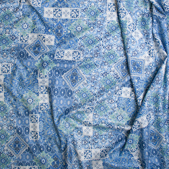 Blue, White, and Lime Ornate Tiled Pattern Fine Cotton Lawn from 'Tori Richards' Fabric By The Yard - Wide shot