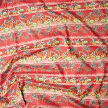 Red Island Foliage Tribal Stripe Fine Cotton Lawn from 'Tori Richards' Fabric By The Yard - Wide shot
