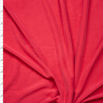Bright Cherry Red Brushed Poly/Modal Jersey Knit Fabric By The Yard