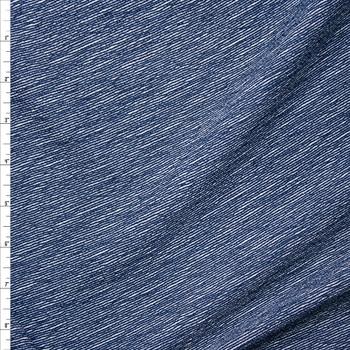 Navy Blue Denim Like Diagonal Stripe on White Liverpool Knit Fabric By The Yard
