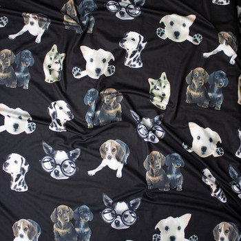 Cute Dog Photo Cutouts on Black Brushed Poly Spandex Fabric By The Yard - Wide shot