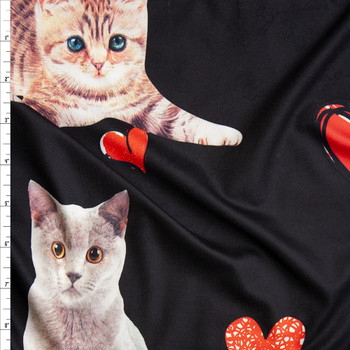 536e919fdc7 Kitten Photo Cutouts and Hearts on Black Brushed Poly Spandex Fabric By The  Yard ...
