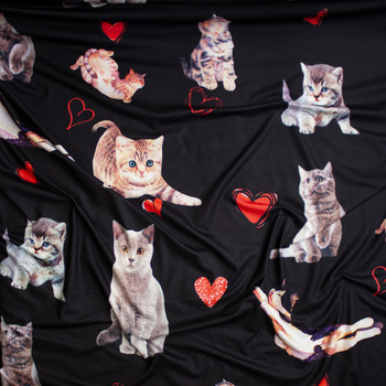 8dbc4b80499 ... Kitten Photo Cutouts and Hearts on Black Brushed Poly Spandex Fabric By  The Yard - Wide
